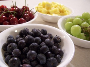 Blueberries, Cherries, Pineapple, and Grapes