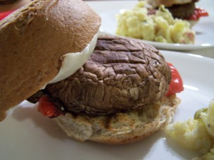 Grilled Portobello Burgers and Vegan Potato Salad